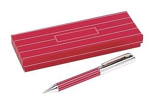 ADORNO Kuličkové pero, otočné, tělo s proužky, červené