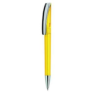 EVOMETAL Plastové kuličkové pero s kovovým klipem, modrá náplň, žluté