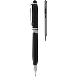 Kovové kuličkové pero, černé se stříbrnými doplňky