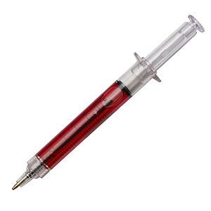 Kuličkové pero ve tvaru injekční stříkačky, červená
