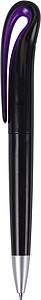 Černé plastové KP, černá náplň, fialový detail