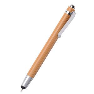 Bambusové kuličkové pero s stříbrnou sponou, modrá náplň, středně hnědá