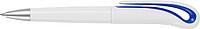 Bílé plastové kuličkové pero s černou n. a tm.modrým detailem