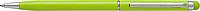 RUBBY Kovové kuličkové pero, modrá náplň, stylus pro kapac.displej, sv.zelené