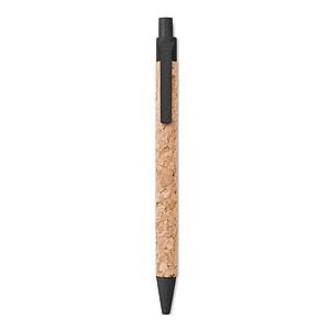 ADUBO Ekologické kuličkové pero s korkovým tělem a ekologickými doplňky, modrá n., černá - psací potřeby
