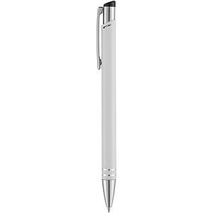 Hliníkové kuličkové pero s dvěma stříbrnými kroužky, bílá