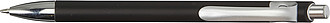 KEVLAR Plastové kuličkové pero, kovový vzhled, stříbrné detaily, černé