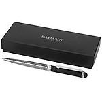 Kovové kuličkové pero balmain se stylusem, stříbrná/černá matná