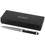 Kovové kuličkové pero balmain se stylusem, stříbrná-vzor/černá matná