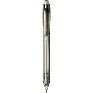 Průhledné kuličkové pero z recyklovaného materiálu, černá náplň, černá - psací potřeby
