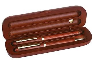 psací souprava v dřevěné krabičce, modrá náplň
