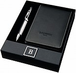 FRANCIS Kuličkové pero a zápisník Balmain, imitace kůže, černá