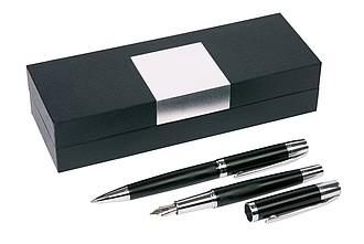 Kovové pero a propiska v obdélníkovém pouzdře