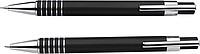 LANELI Sada mikrotužky a kuličkového pera s černou náplní, v dárkové krabičce, černá