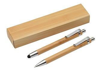 Psací sada KP s modrou n. a stylusem a mikrotužky, bambusové dřevo