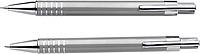 LANELI Sada mikrotužky a kuličkového pera s černou náplní, v dárkové krabičce, stříbrná