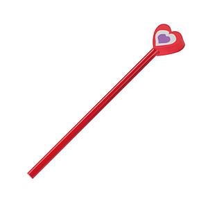 Neořezaná dřevěná tužka s gumou ve tvaru srdce