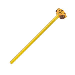 Neořezaná dřevěná tužka s gumou ve tvaru medvěda