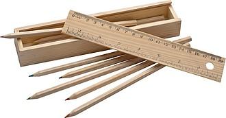 Dřevěný box s 8 pastelkami a pravítkem