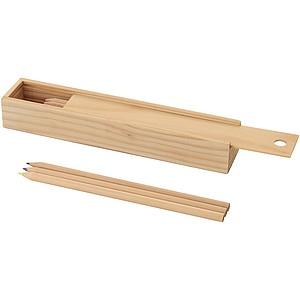 Sada 12 ks pastelek v dřevěném balení s pravítkem