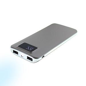 Duální powerbanka s LED svítilnou, 10000mAh, šedá