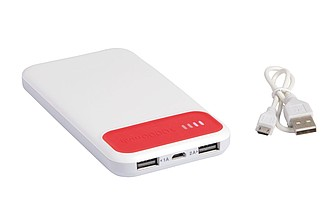 JAWA Plastová powerbanka s kapacitou 10000 mAh, bílá/červená