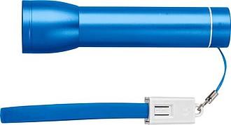 Hliníková powerbanka s kapacitou 2000 mAh a svítilnou, modrá