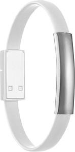 Kabel s konci micro USB a USB jako náramek, bílý