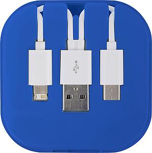 Nabíjecí kabel v plastovém pouzdře, modrá