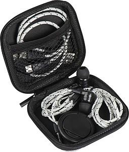 Cestovní sada k telefonu, obsahuje nabíjecí kabel, sluchátka, držák telefonu