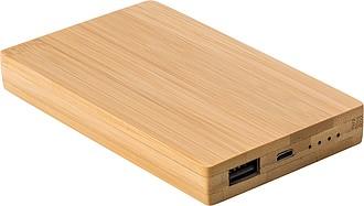 Powerbanka 4000mAh s bambusovým povrchem