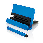 Hliníkový stojan na telefon s dotykovým perem, modrý
