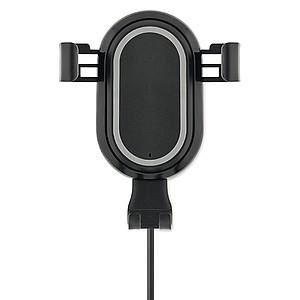 Bezdrátová nabíječka s držákem na telefon do auta se svítícím logem, černá