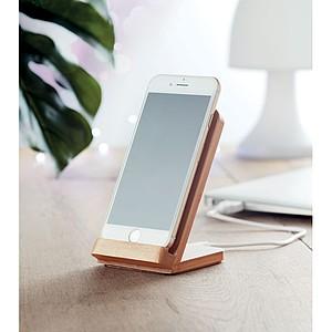 AMERINA Bambusový stojánek na mobil s bezdrátovým nabíjením