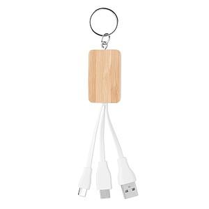Nabíjecí kabel s kroužkem na klíče a bambusovým přívěškem