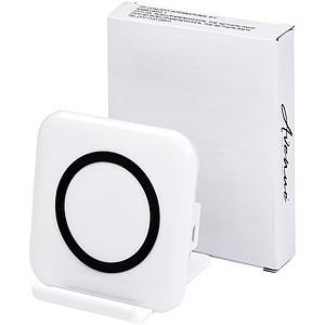 Čtvercový bezdrátový nabíjecí stojánek na telefon, bílá