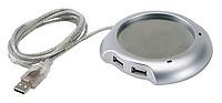 USB ohřívač s 4 porty, stříbrná, USB 1.1