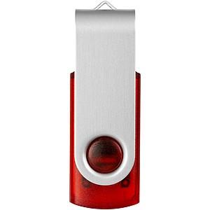 Průsvitný USB Rotate s barevným nádechem, 2GB, červená, cena na vyžádání