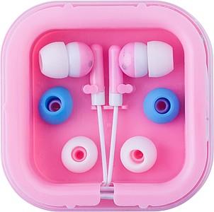 Sluchátka s náhradními gumičkami v růžové krabičce