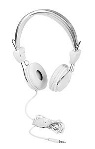 Bílá sluchátka, kabel délky 2,2m