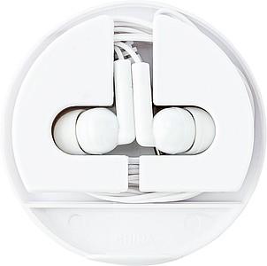 Sluchátka v krabičce ve stejné barvě, bílé