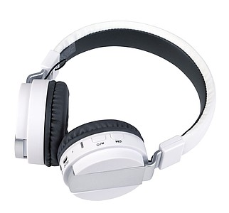 Skládací bluetooth sluchátka, bílá barva