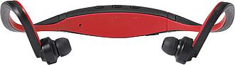 Plastová bluetooth sluchátka, černo červená