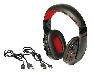 Velká bluetooth sluchátka, černo červená