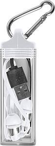 Plastová bezdrátová sluchátka s nabíjecím kabelem, bílá