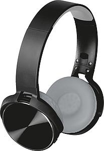 Velká bezdrátová sluchátka na uši, černá