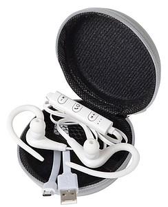 Bezdrátová sluchátka do uší s ovládáním hlasitosti, bílá