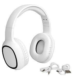 ANDRIS Polstrovaná nastavitelná bezdrátová sluchátka, bílá