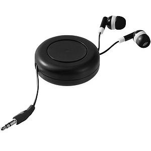 Sluchátka do uší v kulatém plastovém obalu, černá