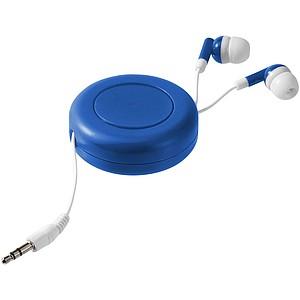 Sluchátka do uší v kulatém plastovém obalu, královská modrá